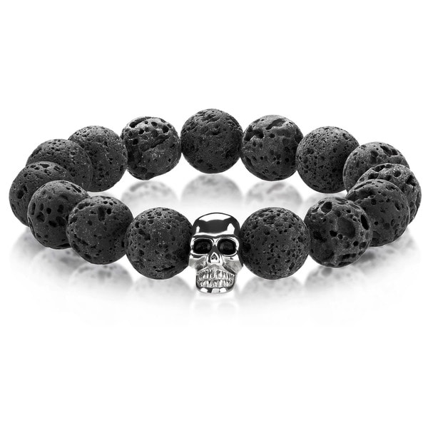Crucible Men's Lava Rock Stainless Steel Skull Bead Stretch Bracelet - 8 inches (14mm Wide) 20235568