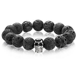 Crucible Men's Lava Rock Stainless Steel Skull Bead Stretch Bracelet - 8 inches (14mm Wide)