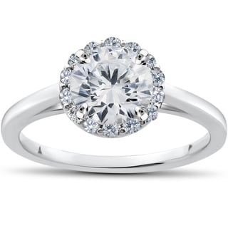 14k White Gold 1ct TDW Lab Grown Diamond Madelyn Halo Vintage Accent Engagement Ring (F-G, SI1-SI2)