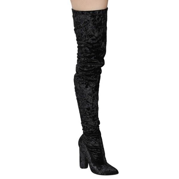 Cape Robbin GD80 Women's Snug-fit Inside-zip Stretchy Block Heel Thigh-high Boot