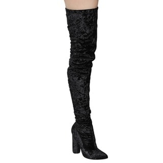 Cape Robbin GD80 Women's Snug-fit Inside-zip Stretchy Block Heel Thigh-high Boot