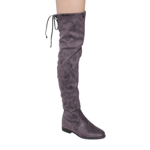 Liliana GD97 Women's Drawstring-tie Thigh-high Flat-heel Stretchy Boots