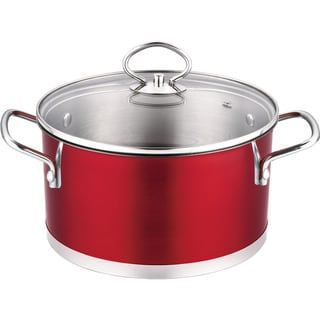 Prime Cook Stainless Steel 3QT Red Soup Pot with Glass Lid