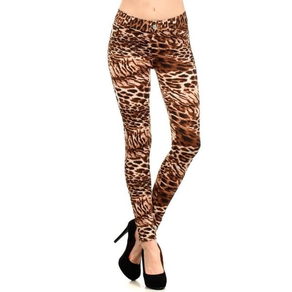 HoneyComfy Ladies' Brown Cotton/Spandex Cheetah Print Jeggings
