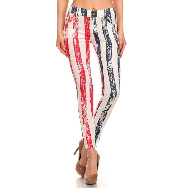 HoneyComfy All Stripe American Flag Jeggings Pants