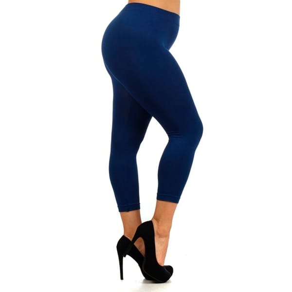 HoneyComfy Ladies Solid Color Nylon Plus-size Seamless Capri Leggings