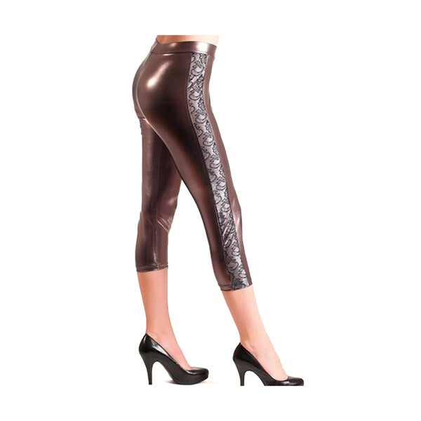 HoneyComfy Women's Pewter Metallic Liquid Leggings With Mesh Insert