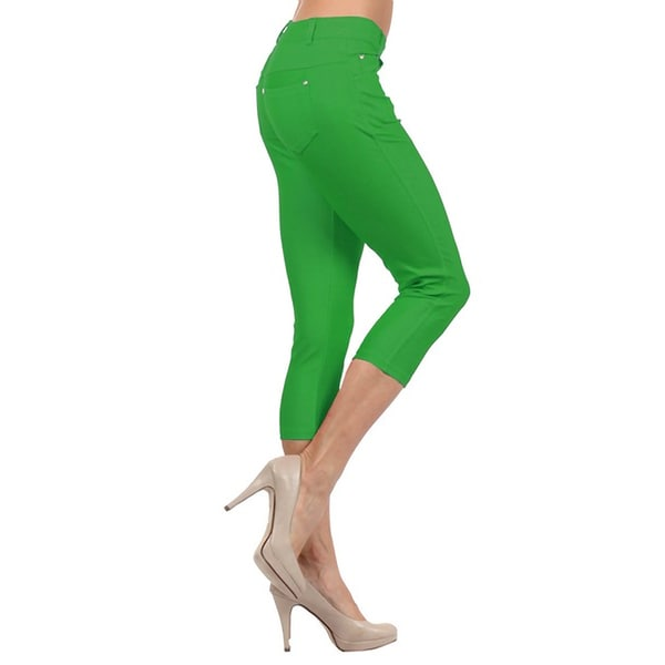 HoneyComfy Ladies' Hudson Green Cotton Blend Capri Rhinestone-embellished Fashion Jeggings