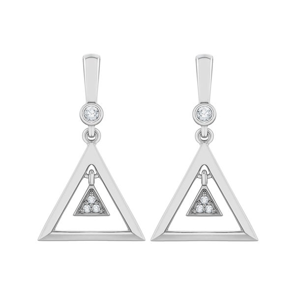 10k White Gold Diamond Accent Drop Earrings