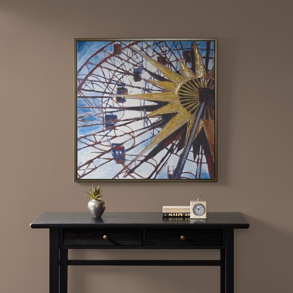 Madison Park Signature Carnival Ferris Wheel Multi Hand Embroidered with Gray Frame