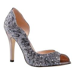 Women's Pink Paradox London Eve D'Orsay Peep Toe Pump Pewter Glitter/Sequins