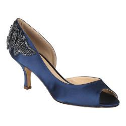 Women's Pink Paradox London Finery D'Orsay Peep Toe Pump Navy Satin