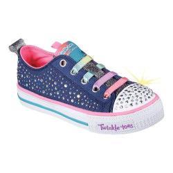 Girls' Skechers Twinkle Toes Shuffles Twirly Toes Sneaker Navy/Multi