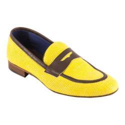 Men's Giovanni Marquez 2031 Raffia Penny Loafer Yellow Leather