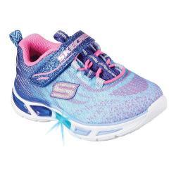 Girls' Skechers S Lights Litebeams Bungee Lace Sneaker Blue/Hot Pink
