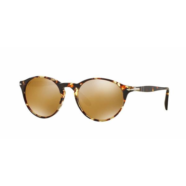 Persol PO3092SM-9040W4 Round Light Brown Mirror Gold Sunglasses