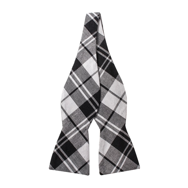 Skinny Tie Madness Men's Black and White Plaid Bow Tie