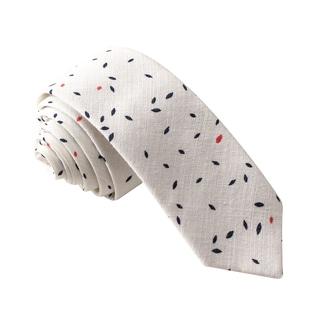 Skinny Tie Madness Men's White Printed Skinny Tie