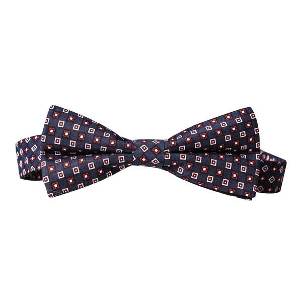 Skinny Tie Madness Men's Navy Printed Pre-Tied Bow Tie