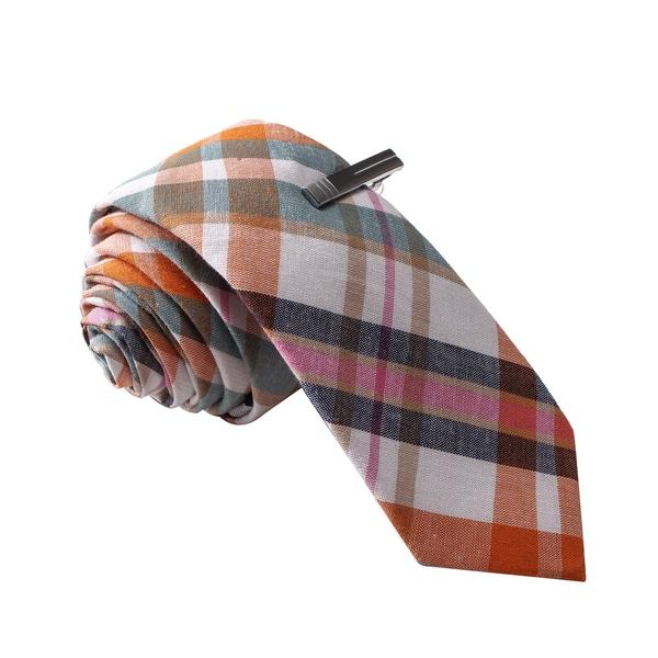Skinny Tie Madness Men's Multi Color Plaid Tie with Tie Clip