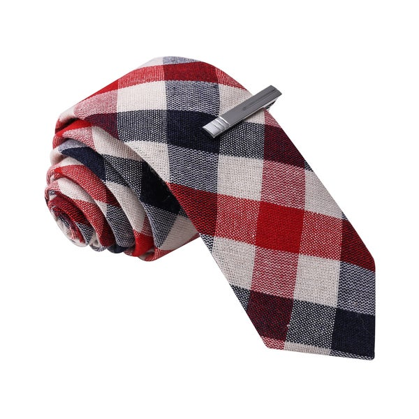 Skinny Tie Madness Men's Red Cotton Plaid Tie with Tie Clip
