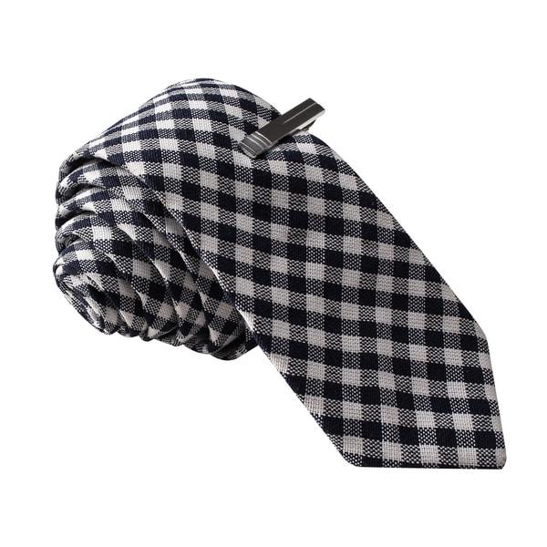 Skinny Tie Madness Men's Black Gingham Plaid Skinny Tie