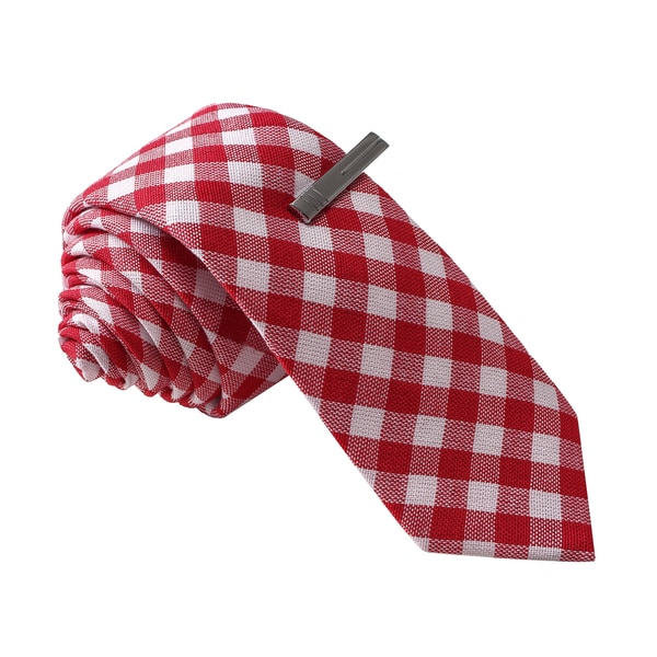 Skinny Tie Madness Men's Red Gingham Plaid Tie with Tie Clip