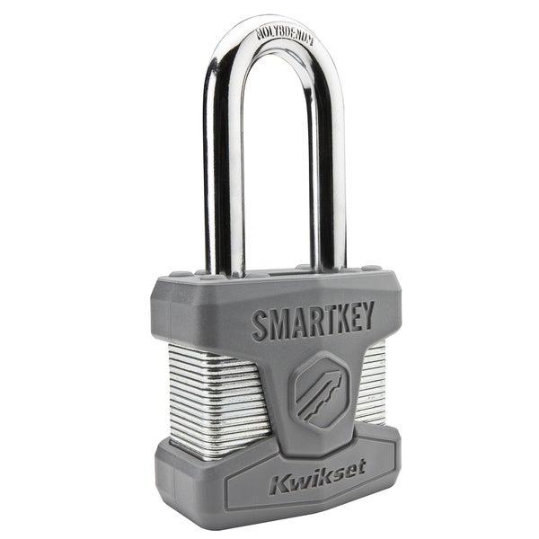 Kwikset 90260-002 SmartKey Padlock Long Shackle