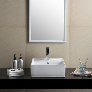 Fine Fixtures Vitreous China White Square Modern Vessel Bathroom Sink
