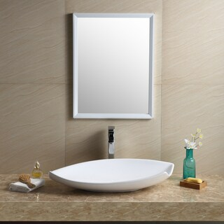 Fine Fixtures Modern White Vitreous China Irregular Vessel Bathroom Sink