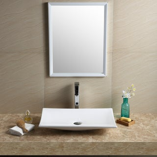 Fine Fixtures Vitreous China White Rectangular Modern Vessel Bathroom Sink