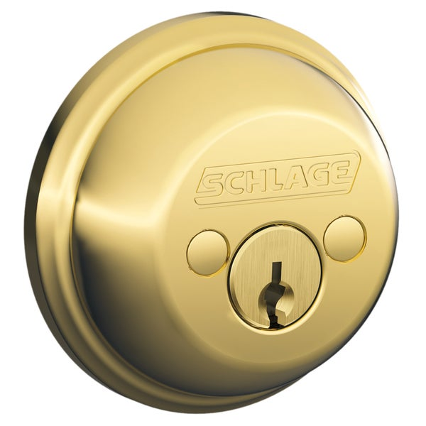 Schlage B62NV605 Bright Brass Double Cylinder Deadbolt