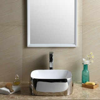 Fine Fixtures Chrome/White Vitreous China Square Vessel Sink