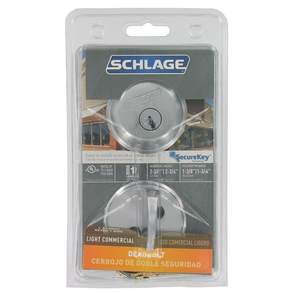 Schlage B60CSV626 Satin Chrome Single Cylinder Deadbolt