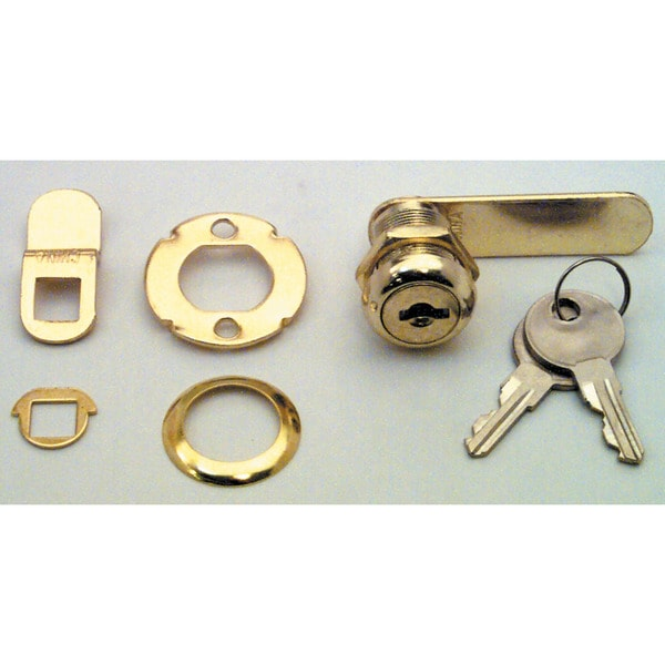 "Prime Line U9944 7/8"" Brass Drawer & Cabinet Lock"