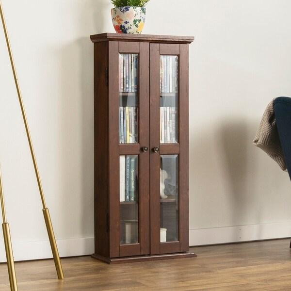 41-inch Brown Wood Media Storage Cabinet 20247136