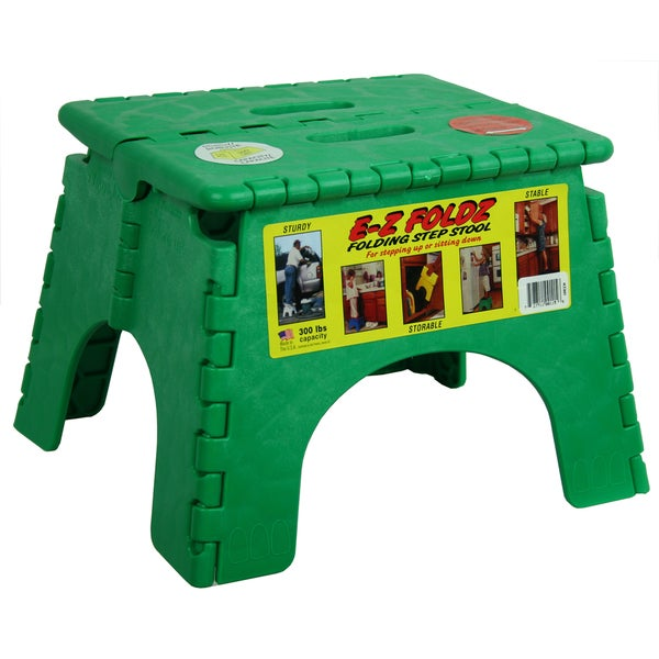 "B&R Plastics 101-6G 9"" X 11.5"" Green EZ Foldz Folding Step Stool"
