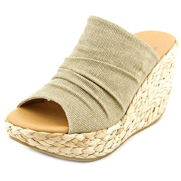 Blowfish Women's Drapey Tan Cotton Wedge Sandals