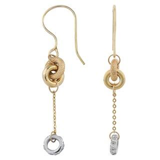 Fremada Italian 14k Two-tone Gold Stylish Drop Earrings