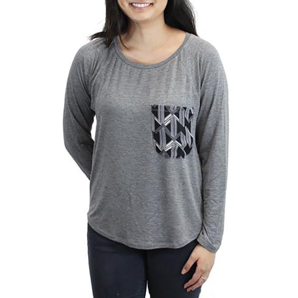 Relished Women's Grey Rayon and Spandex Back-print Long-sleeve Top