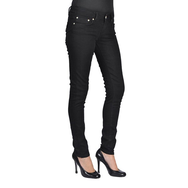 C'est Toi Womens Black Cotton Stud Pocket Rhinestone-accented Skinny Jeans