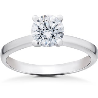 14k White Gold 1 ct TDW Lab Grown Eco Friendly Diamond Angelica Solitaire Engagement Ring (F-G, SI1-SI2)