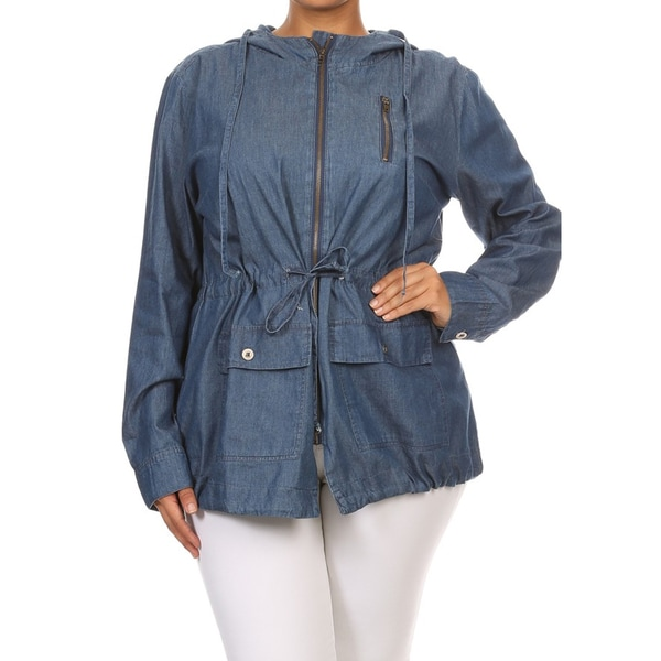 Plus-size Women's Zipper Jacket with Hood