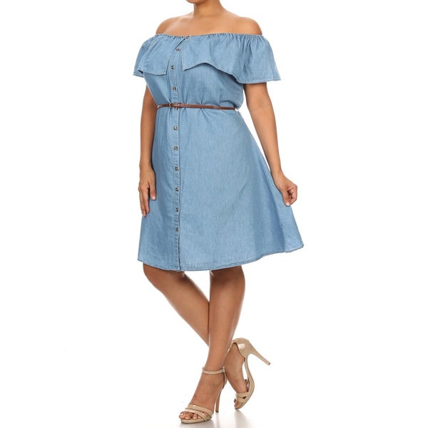 Women's Blue Cotton/Polyester Plus-size Ruffled Dress