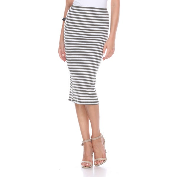 Stanzino Women's Olive Striped Polyester Pencil Skirt