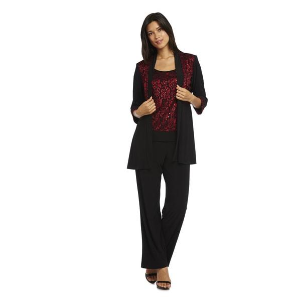 R&M Richards Women's Red/Black Polyester/Spandex Jacket Pant Set