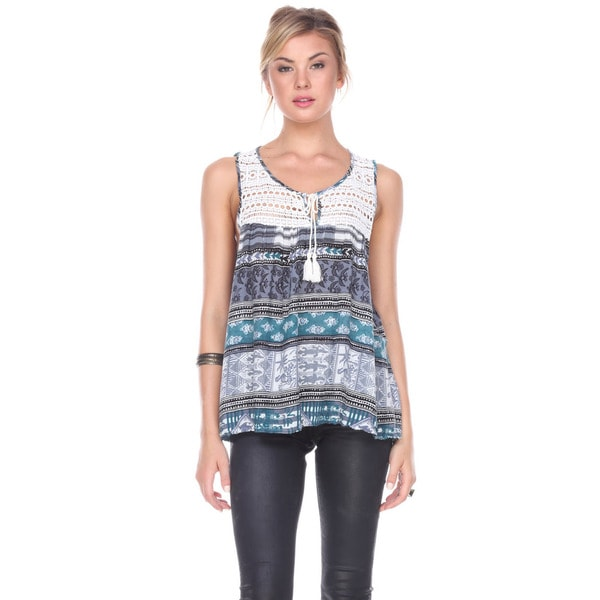 Stanzino Women's Blue/Pink Rayon Sleeveless Printed Top