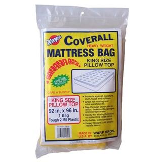 """Warps CB-92 92"""" L X 96"""" W King Size Plastic Mattress Storage Bag"""