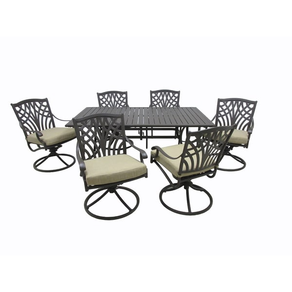 Carmen 7-Piece Aluminum Dining Collection with Slat Style Table