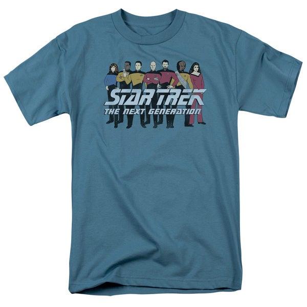 Star Trek/Line Up Short Sleeve Adult T-Shirt 18/1 in Slate